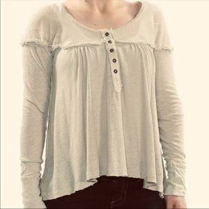 Free People Henley Linen Jewel Neck Top Size XS